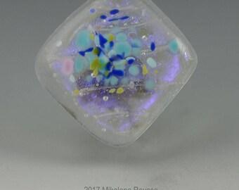 Fuchsia ... dichroic glass cabochon artisan handmade artsy organic lampwork jewelry designer cabs  by GrowingEdgeGlass/ Mikelene Reusse