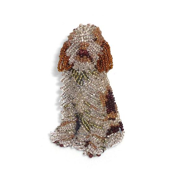 Beaded ITALIAN SPINONE keepsake dog pin pendant art jewelry (Made to Order)