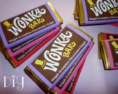 Wonka Bar wrappers Wonka Bar candy bar wrapper template Willy Wonka birthday party favors printable digital PDF template PuRPLe PiNK & ReD