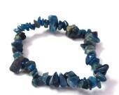 WINTER SALE Destash Pacific Blue Apatite Semi-Precious Stretch Bracelet,  Jewelry Supplies, Blue Beads