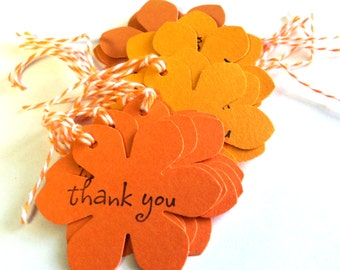 15 Tags, Gift Tags, Thank You, Merchandise, Hang, Shades of Orange, Funky Flowers
