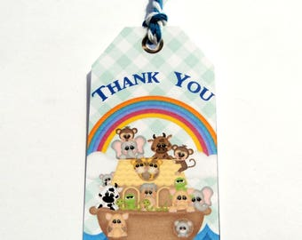 10 Noah's Ark Gift Tags, Hang Tags, Baby Shower Tags, Party Favor Tags, Handmade Blue White Tags