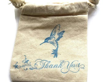 6 Muslin Bags, Blue Hummingbird and Thank You, Gift Bags, Packaging, 4x4 Inches, Hand Stamped, Party Favor Bags