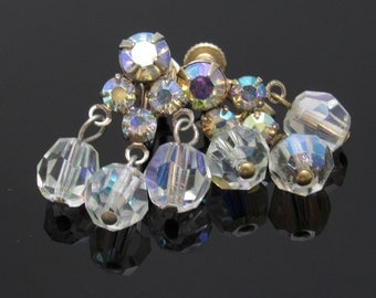 Dangly Vintage Crystal Earrings Screw On Fifties AB Jewelry E7510