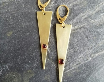 Modern Garnet Earrings, Gold Brass Dagger Dangles, Red Gemstones, Gold Triangles, Bohemian, Boho Jewelry, Gift for Her, Under 50