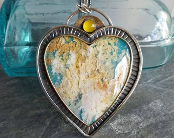 Aine Pendant, Plume Agate Free-Form Heart in Sterling Silver and Brass