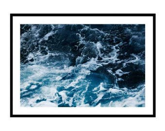 Ocean Print, Ocean Photography Print, Blue Ocean Print Sea Print Crashing Waves Print Wild Ocean Print