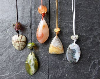 Polished Stone and Lampwork Glass necklace - chose your favourite!