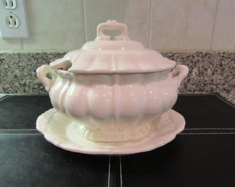 Vintage white ironstone gravy or sauce tureen with cover and under plate- Japan