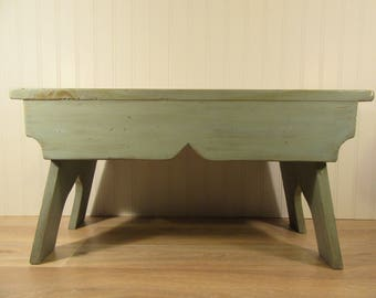 NICE solid wood hand made green stained foot stool