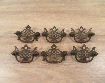 Set of 6 old metal drawer pulls- ornate, fine condition, ready to use