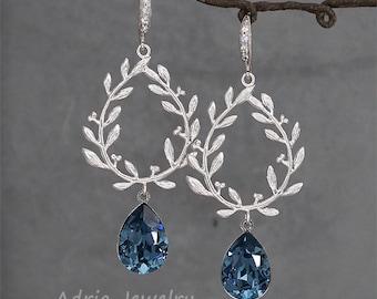 Laurel Wreath Earrings. Wedding Earrings for Brides.Navy blue crystal earrings,sapphire blue earrings, Swarovski Bridesmaid Gift