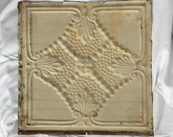 "AUTHENTIC 1890's Tin Ceiling Tile Panel Ivory 12""x 12"" Arts and Crafts  RECLAIMED 8-17i"