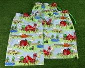 3 custom size drawstrings bags, farm fabric, custom listing for drawstring bags