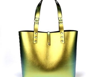 Gold Iridescent Tote Bag | Gold to Green Tote | Vegan | Made in USA