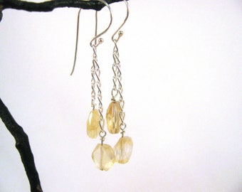 Sterling Silver Faceted Citrine Dangle Earrings RKS554