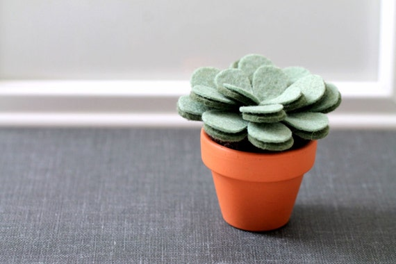 Mini Felt Plant Sculpture, Small Potted Artificial Plant, Fake Plant for Office Cubicle or  Apartment, Handmade by OrdinaryMommy on Etsy