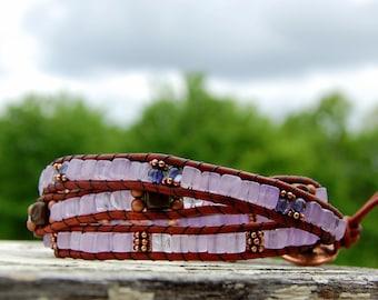 Amethyst, Iolite and Copper Boho Wrap Bracelet