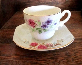 Nippon Yoko Boeki cup and saucer - Mismatched set - Demitasse cup - Mid century - Cottage chic
