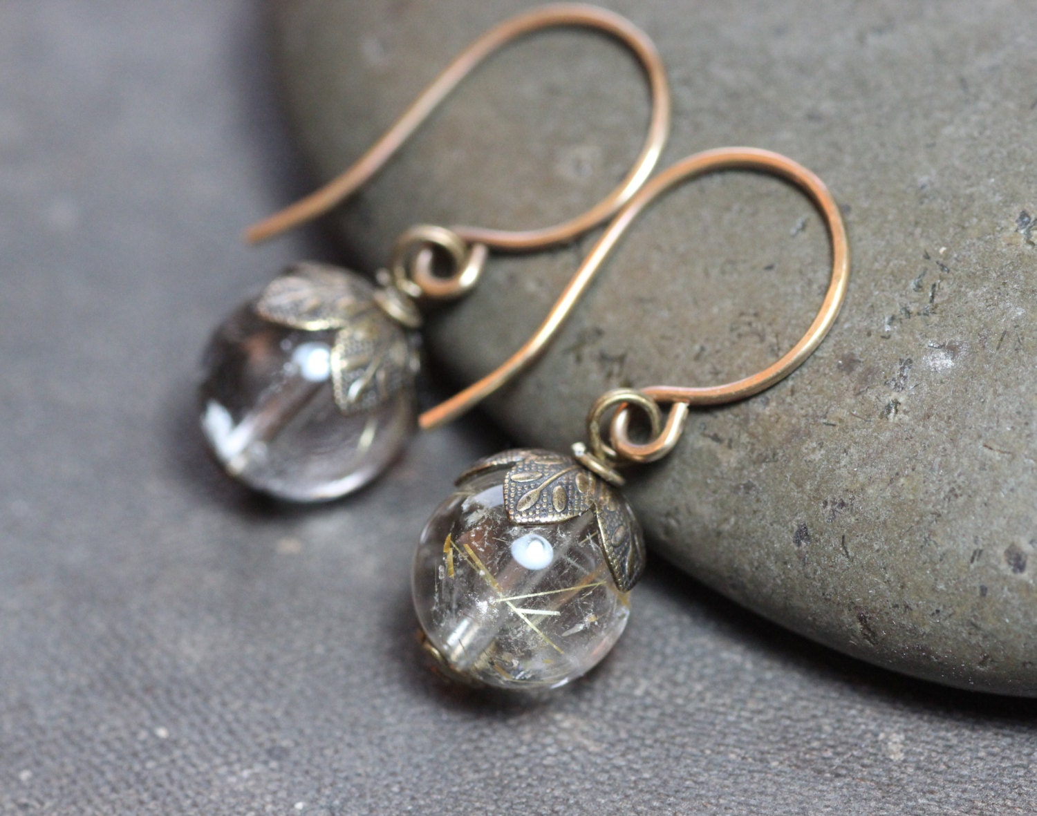 Rutilated quartz earrings golden rutile earrings rustic for Golden rutilated quartz jewelry