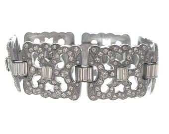 Czech Vintage Art Deco Bracelet, Wide Rhinestone Cuff, Fine Designer 1920s Art Deco Jewellery, Wedding Bracelets