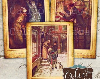 A Christmas Carol, Collage Sheet, Scrooge Ephemera, Christmas Collage, Printable Tags, Digital ATC Sheet, Printable Ephemera, CalicoCollage