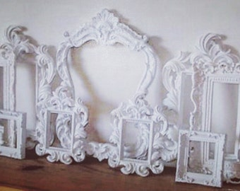 Urban Farmhouse French Country Empty Frames Cottage White Set 9 Vintage Inspired Picture Frames Wall Gallery. Ornate. Wedding. Baby. Nursery