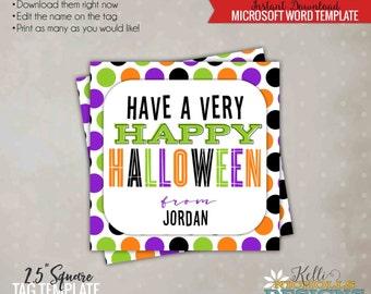 Printable Happy Halloween Polka Dot Tag, Halloween Candy Bag Tag, Purple, Orange, Black, Printable Instant Download