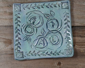 Blue Ceramic Tray - Roses - Ring Dish - Spoon Rest - Handmade