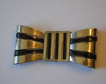 Vintage Bow Buckle. Dimensional Silver tone metal and Black Enamel. Glossy.   Stripes. Finding. Wedding, Bride, Evening.