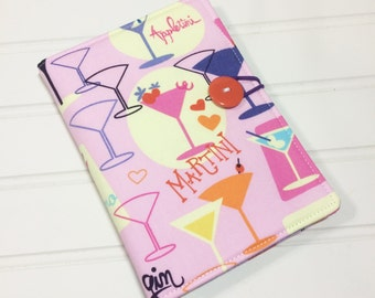 Martini list taker, Mini Shopper, Notepad holder, Girls night out, Martini gift, Bridesmaid gift, Fabric notebook, Receipt holder, Portfolio
