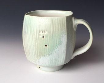 Square Mug - Light Green and White