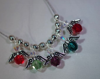 Swarovski Crystal Jewelry - Mom or Grandmother Necklace - Silver Snake Chain - All Birthstones
