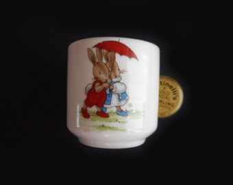 Vintage Bunnykins Egg Cup Royal Doulton China Tiny Cup Children's Bunny Cup Cottage Decor Red Umbrella Sleepy Blue Mama Rocking Chair