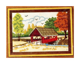 Vintage Crewel Kit Rural Americana Meadow Covered Bridge Small 5 X 7 Picture To Embroidery Jiffy Stitchery Craft Kit Fall Landscape Trees