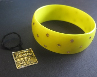 Vintage Lucite  1960's Bangle Bracelet with Rhinestones