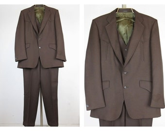 Vintage 1970s Western Mens Three Piece Suit, Sewell Supreme Label