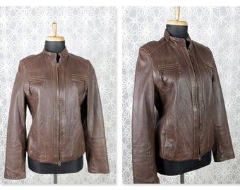 Vintage Butter Soft Leather Bomber Jacket, Sz M