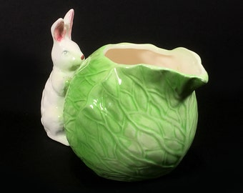 Vintage Little Bunny and Green Cabbage Creamer