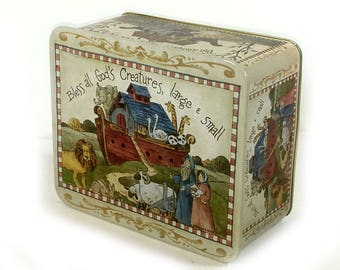 """Vintage Metal Storage Tin - Noah's Ark, """"Bless All God's Creatures, Large and Small"""""""