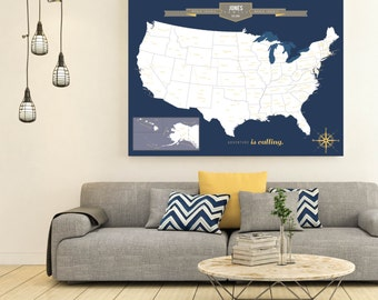 USA Travel Map, Map Your Travels, Canvas Pushpin Map, Husband Gift, Office Decor // Personalized Canvas or Print // H-I18-1PS AA4 OP5