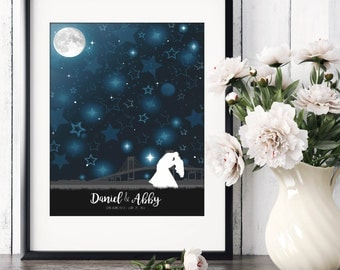 Night Sky Guestbook, Starry Sky Wedding Guestbook, Constellation Guestbook, Star Guestbook, Moon Guestbook, Unique Wedding // W-N01-1PS HH3