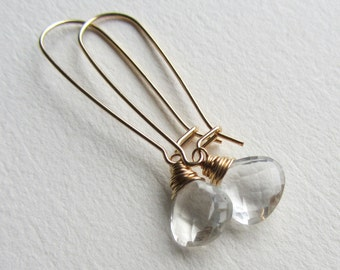 Rock Crystal Wedding Earrings with Gold Filled Kidney Ear Wires Future Heirloom Bridesmaid Wedding Party Gift Long Dangle and Drop Earrings