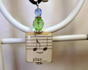 PLAY Music Note Pendant / Vintage Sheet Music / Scrabble Jewelry / Charm / Necklace with Cord / Uplifting - Cheerful - Fun