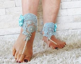 Wedding Beach turquoise bridal footwear sandal,  pearl beaded, sequin lace Beach ,Brautsandalen, Sandales de mariée, Free shipping
