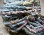 Handspun Soft Curly Textured Super Bulky Bfl / Finn Wool Art Yarn in Pastel Blues by KnoxFarmFiber for Knit Weave Embellishment