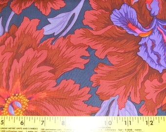 Iris and Peony Cotton Fabric by Philip Jacobs Half Yard In Bronze
