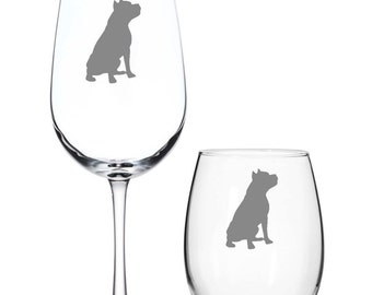 Set of 4 Pit Bull Wine Glasses, Etched American Staffordshire Terrier Wine Glasses,Pit Bull Lover Gift,Pit Bull Barware,Pit Bull