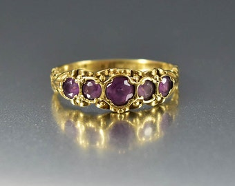 Antique Gold Amethyst Ring, Victorian Engagement Ring, Gold Wedding Band Ring, Five Stone Ring, February Birthstone Boho Stacking Ring