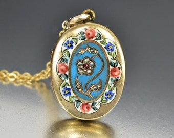 Antique Pearl Garnet Enamel Gold Locket, Antique Victorian Photo Locket, Forget Me Not Flower Engraved Bohemian Love Token Anniversary Gift